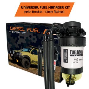 fuel manager universal pre-filter 12mm + bracket